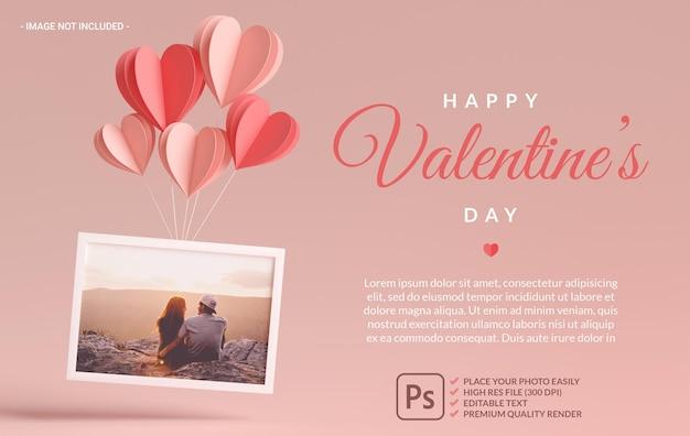 3d 렌더링에서 발렌타인 데이를위한 마음, 사랑 및 선물이있는 사진 프레임 모형 프리미엄 PSD 파일
