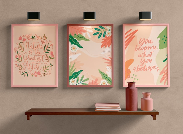 Photo frames mock-up hanging on the wall Free Psd