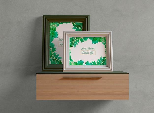 Photo frames mock-up on shelf Free Psd