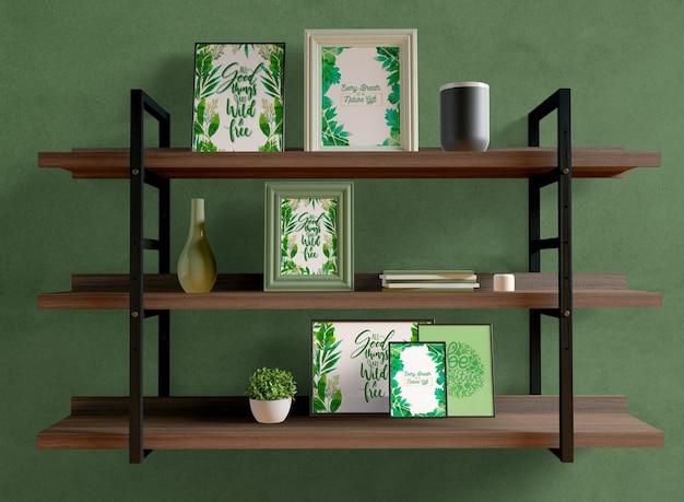 Photo frames mock-up on shelfs Free Psd