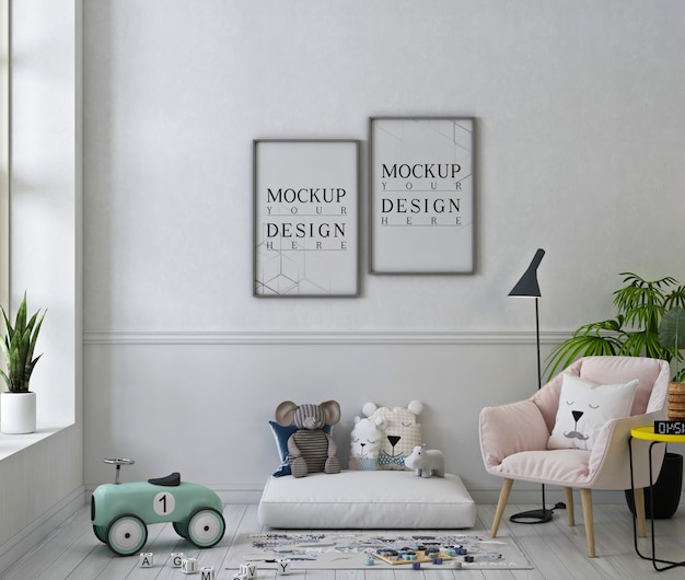 Photo frames mockup in cute playroom with pink armchair Premium Psd