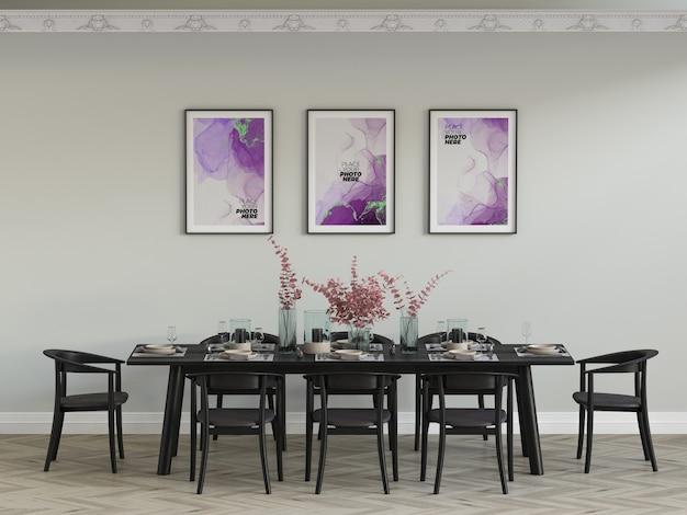 Photo frames mockup in dining room Premium Psd