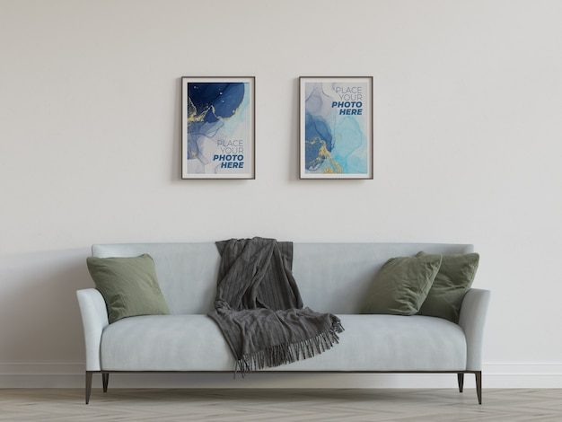 Photo frames mockup in living room Premium Psd