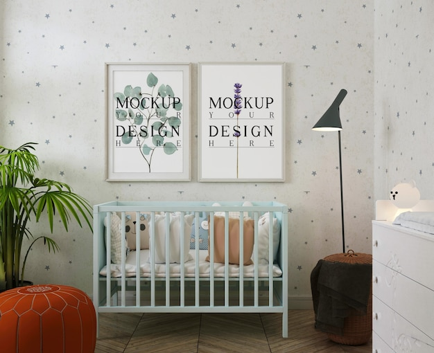 Photo frames mockup in modern baby's room with puff Premium Psd