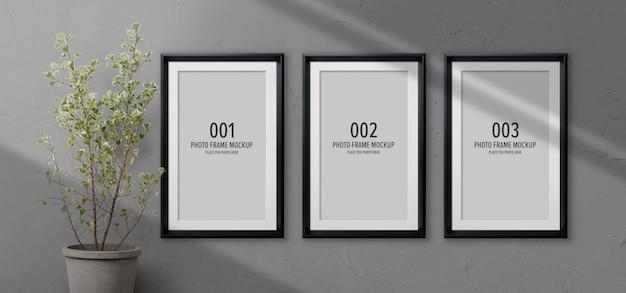 Photo frames mockup with shadow Premium Psd