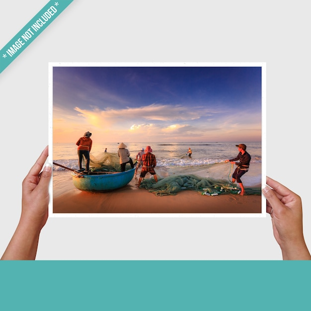 Photo mockup with hands Premium Psd
