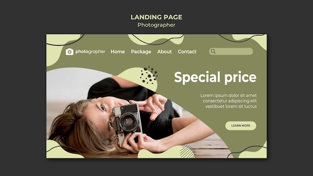 Modello di pagina di destinazione del fotografo Psd Gratuite