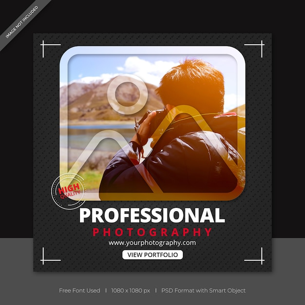 Photographers social media post and facebook banner template Premium Psd