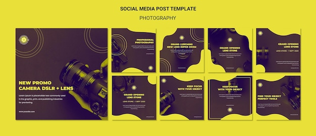 Photography ad social media post template Free Psd