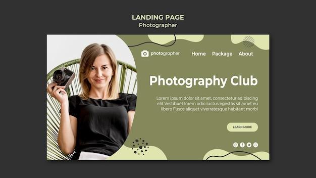 Modello di pagina di destinazione del club fotografico Psd Gratuite