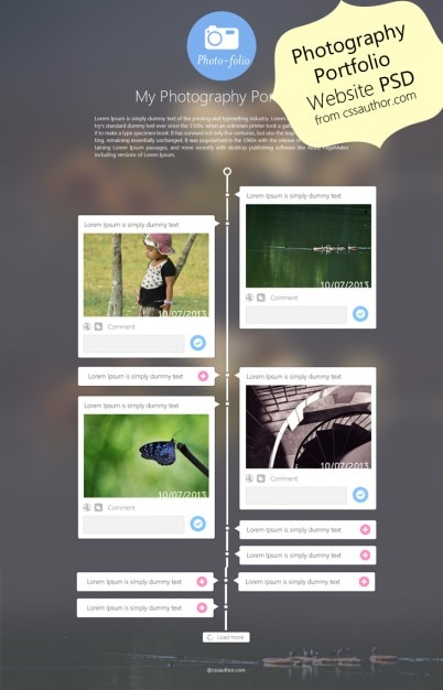 Photography portfolio website template design psd from css for Free portfolio website templates