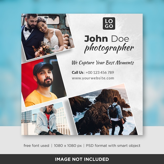 Photography square banner or flyer template Premium Psd