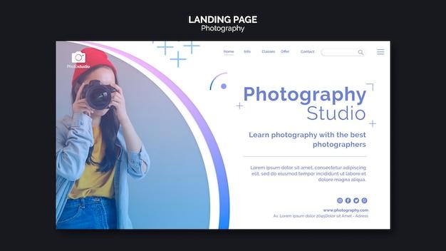 Modello di pagina di destinazione dello studio fotografico Psd Gratuite