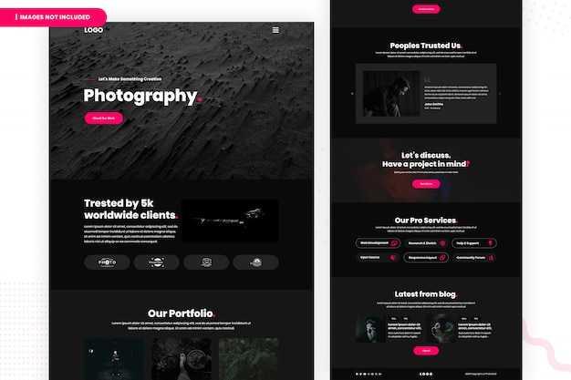 Photography website page template Premium Psd