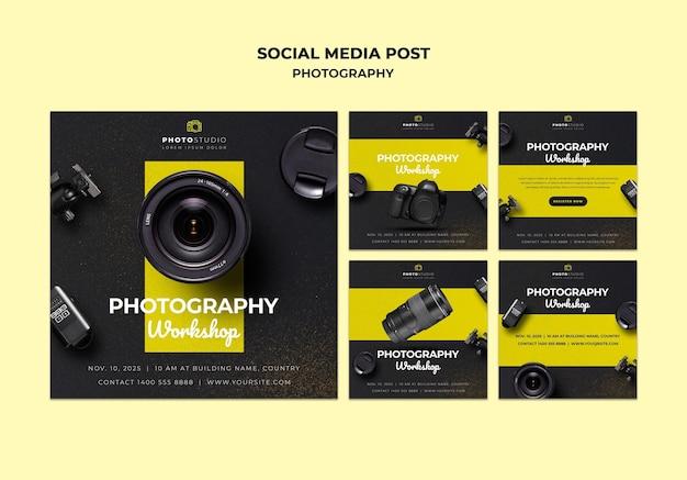 Шаблон сообщения в социальных сетях фотостудии Бесплатные Psd
