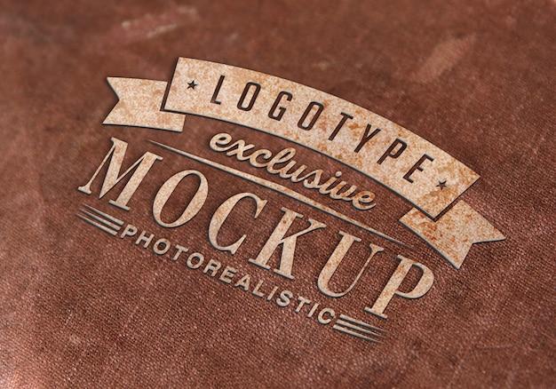 Photorealistic logotype mockup in vintage style Premium Psd