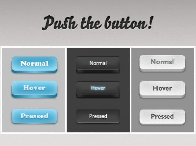 Photoshop buttons in three colors Free Psd