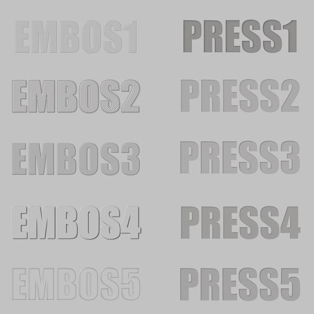 Photoshopテキスト効果のエンボスとプレスレイヤースタイル Premium Psd