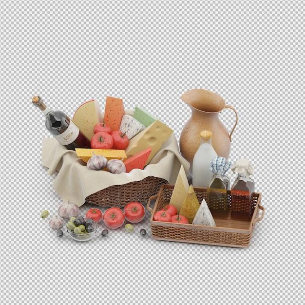 Picnic basket with food 3d render Premium Psd