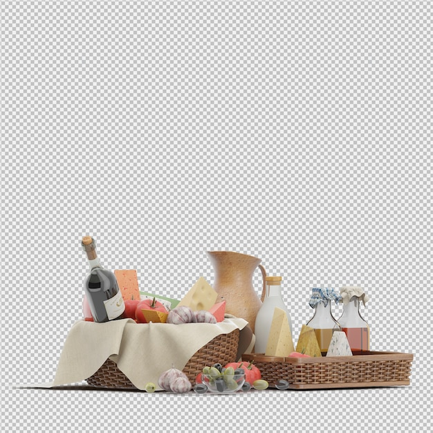 Picnic basket with food 3d render Premium Psd