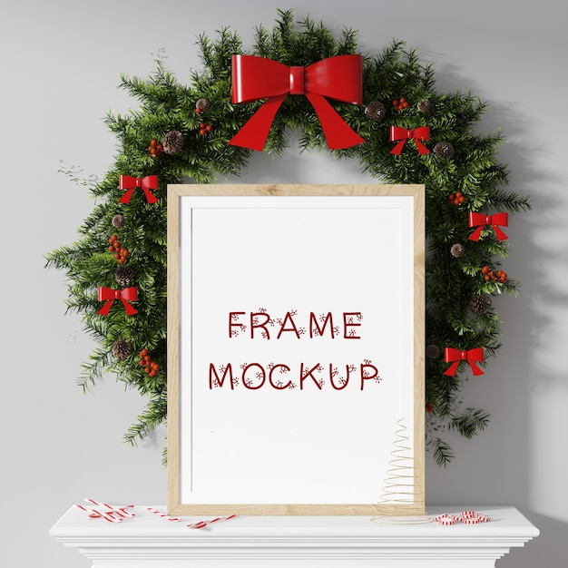 Picture frame in front of the new year's circle with a bow 3d rendering mockup Premium Psd