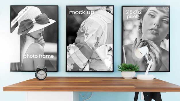Picture frame mockup of three photo frames with thin black borders in bright, modern office interior with office decor, psd mock up Premium Psd