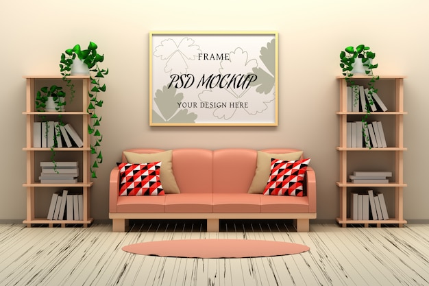 Picture frame mockup on the wall in country style room interior Premium Psd