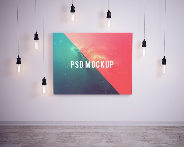 Picture On Wall With Bubble Lights Mock Up Psd File