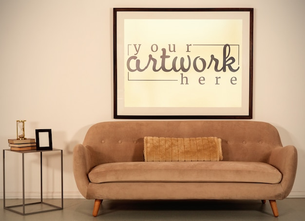 Picture on wall in vintage room mockup Premium Psd