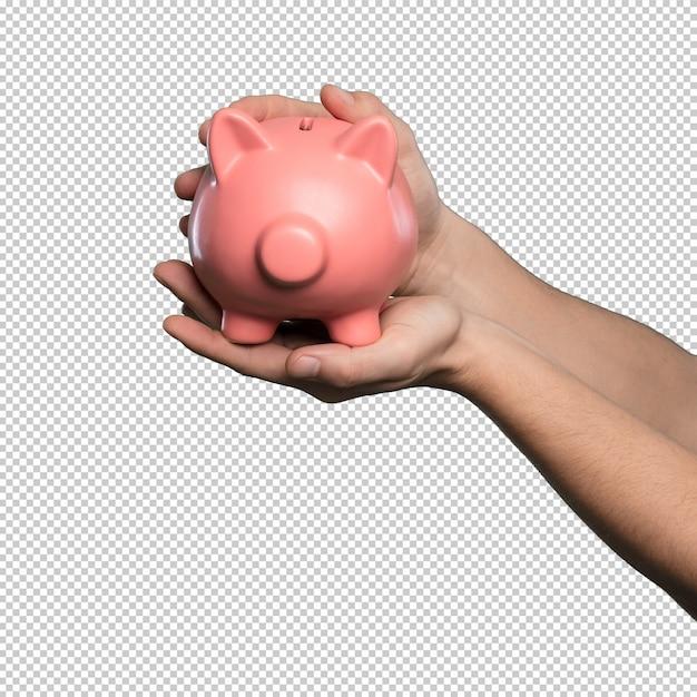 Piggy bank over white background Premium Psd