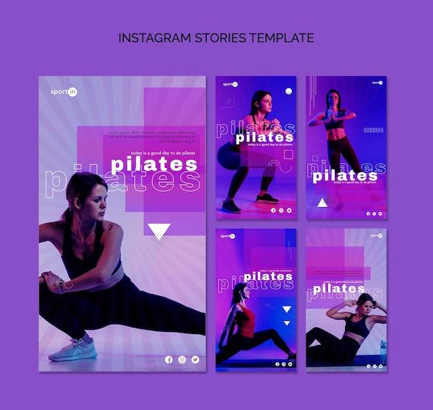 Шаблон рассказов инстаграм обучение пилатес Бесплатные Psd