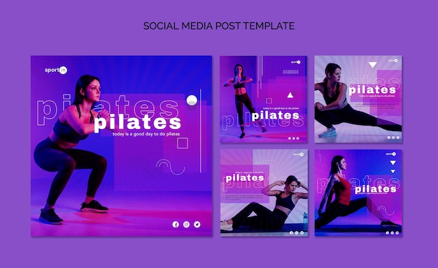 Пилатес обучение в социальных сетях опубликовать шаблон Бесплатные Psd