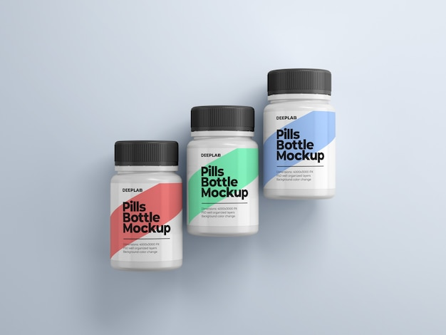 Pill bottle with editable design mockup psd Premium Psd