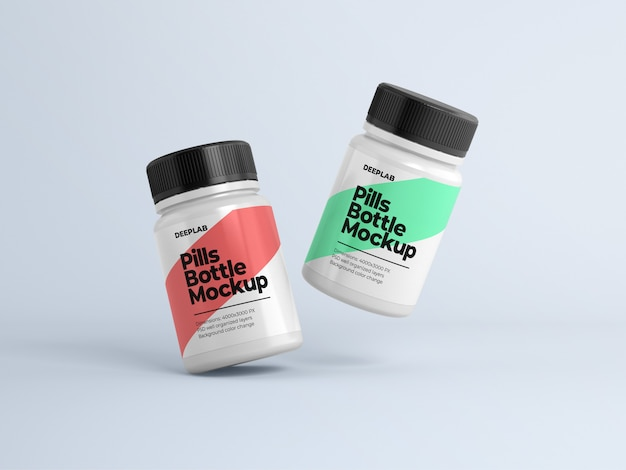 Pill bottle with editable design mockup psd Premium Psd