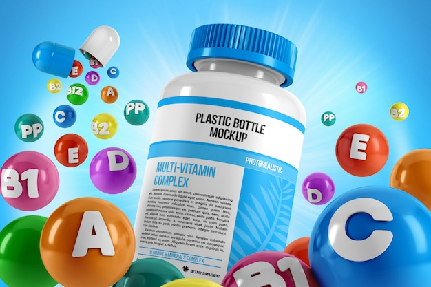 Pills bottle with flying vitamins mockup Premium Psd