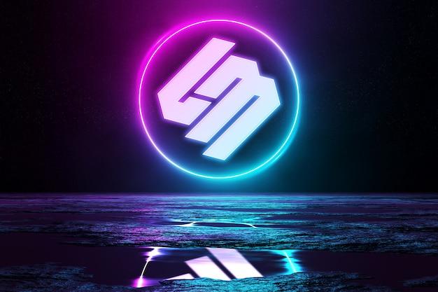 Розовый и синий светоотражающий неоновый свет логотип макет Premium Psd