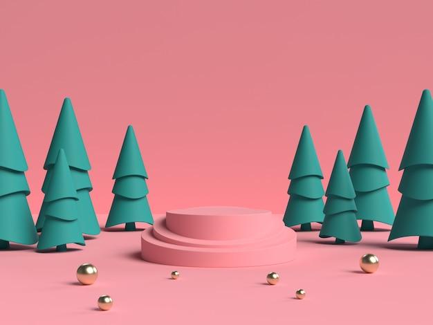 Розово-зеленый 3d-рендеринг абстрактной сцены геометрической формы подиума для отображения продукта Premium Psd