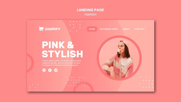 분홍색과 세련된 방문 페이지 템플릿 프리미엄 PSD 파일