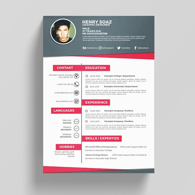 pink and white resume template psd file