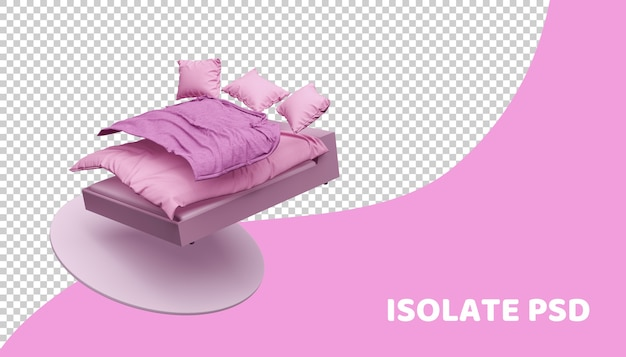 Pink bed and bedding in 3d render isolated Premium Psd