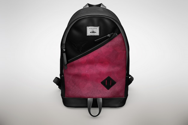Pink and black bagpack mock up Free Psd