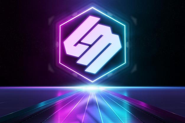 Pink and blue reflective neon light logo mockup Premium Psd