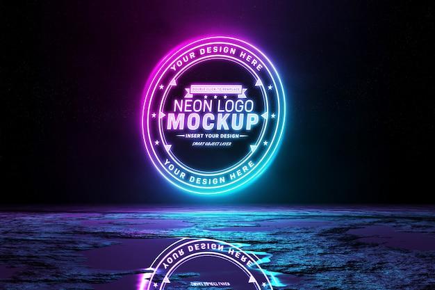 Pink and blue reflective neon light logo mockup