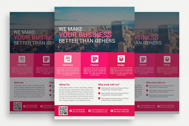 Pink business brochrue Free Psd