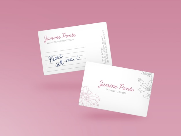 Pink bussiness card mockup Free Psd