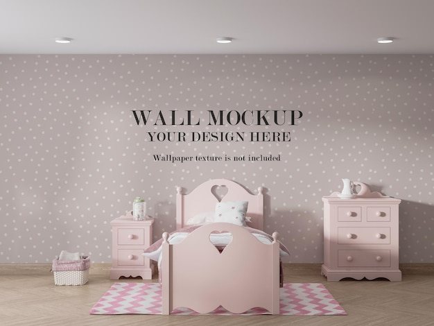 ピンクの子供の寝室の壁のモックアップデザイン Premium Psd