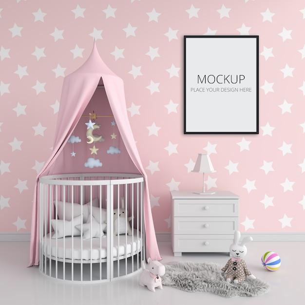 Розовая детская спальня с каркасным макетом Бесплатные Psd