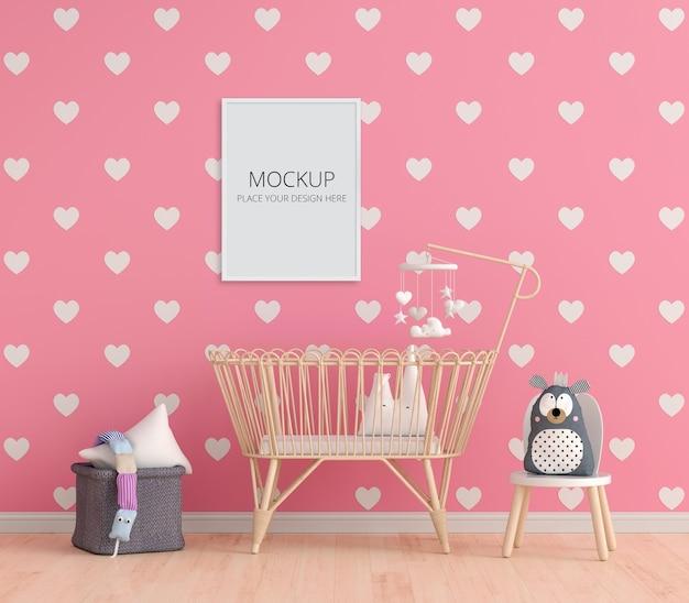 Pink child bedroom with frame mockup Premium Psd