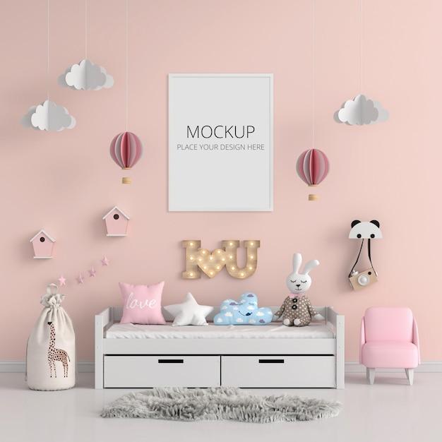 Розовая детская спальня с каркасным макетом Premium Psd