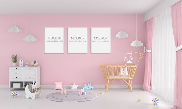 Pink child room with frame mockup Premium Psd